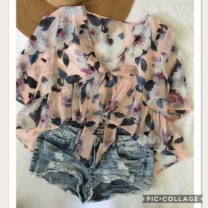 Blush Pink Floral Knot Ruffle Top